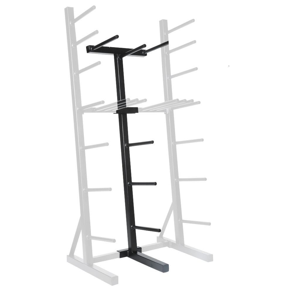 The Les Mills Don Oliver Vertical Storage Rack holds 20 sets of Don Oliver bars, weight sets and collars, and an extra 20% of weight sets.