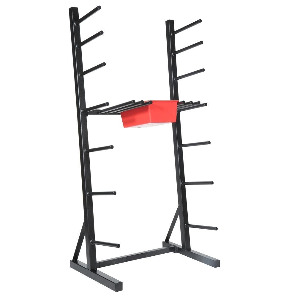 The Les Mills Don Oliver Vertical Storage Rack holds 20 sets of Don Oliver bars, weight sets and collars and an extra 40 plates. When fully assembled, the dimensions are: 2.8 feet wide, 2 feet deep and 6 feet tall.